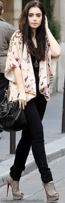 Lily Collins // kick off those heels and its a cute outfit
