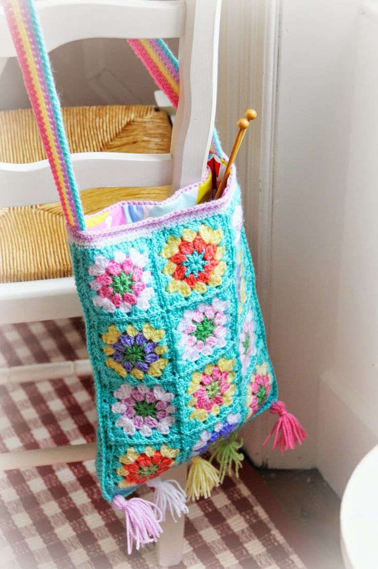 Beautiful turquoise granny square crocheted boho style handbag