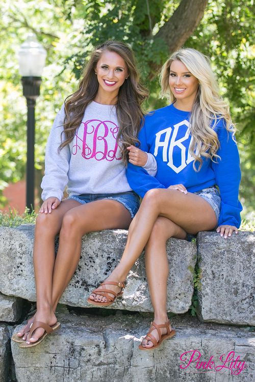 These comfortable vinyl monogram sweatshirts are the perfect way to show off your monogram on a breezy spring or summer night!