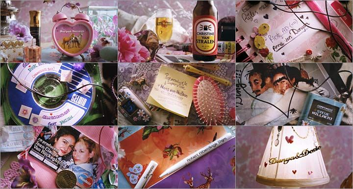 Main Title for Dutch feature Dunya & Desie. The names of the cast and crew are integrated into everyday objects in a teenage girl's bedroom (except for the beer, maybe).