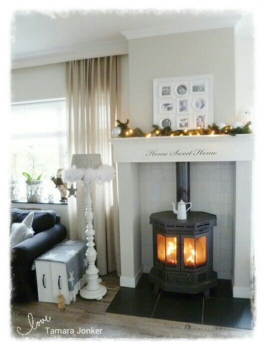 ♡Mantle & woodstove christmas by Tamara Jonker Home inspirations & decorations # cozy living