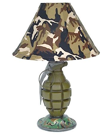 Hand grenade lamp. This design idea should self-destruct, saving humanity from its hideousness.