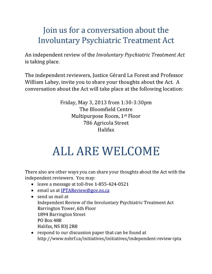 An independent review of the Involuntary Psychiatric Treatment Act