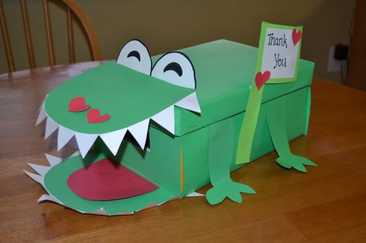 Mamas Like Me: Alligator Valentine Mailbox...would be cute to give each kid a shoe box and let them create valentine box at home