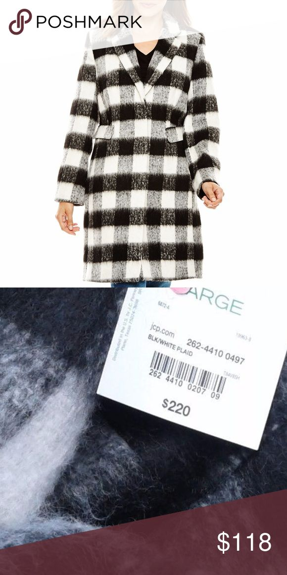 Liz Claiborne Walking Coat Sz L NWT Sophisticated black and white large scale plaid Walking Top Coat. Warm poly/acrylic/wool blend fabric has a nice cozy texture. 2 hidden front buttons 3 button faux cuff closure 2 front pockets Back slit. Classic silhouette with lightly added shoulder and flattering princess seams. Fully lined. Sz L  NWT Liz Claiborne Jackets & Coats Pea Coats