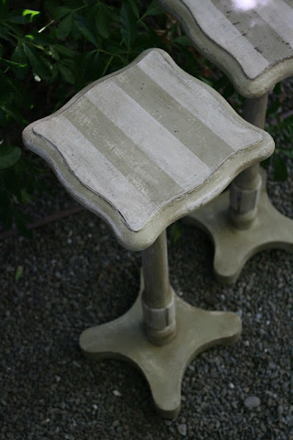 Versailles & Old White striped pedestals
