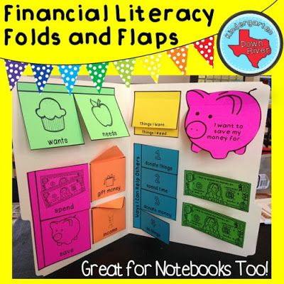 $Personal Financial Literacy Folds & Flaps work great in interactive notebooks or turned into a lapbook. #math #income #financialliteracy