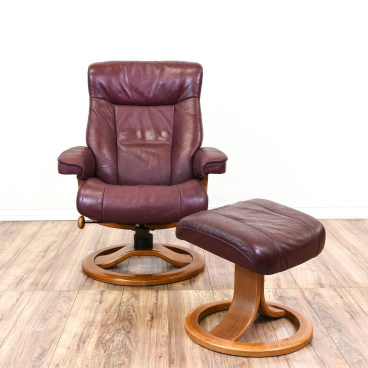 """This """"Northern Comfort"""" armchair and ottoman set is featured in a solid wood with an oak finish. This recliner and footstool set has purple vinyl upholstery, round bases, and an adjustable seat. Perfect for lounging and napping! #contemporary #chairs #armchair #sandiegovintage #vintagefurniture"""