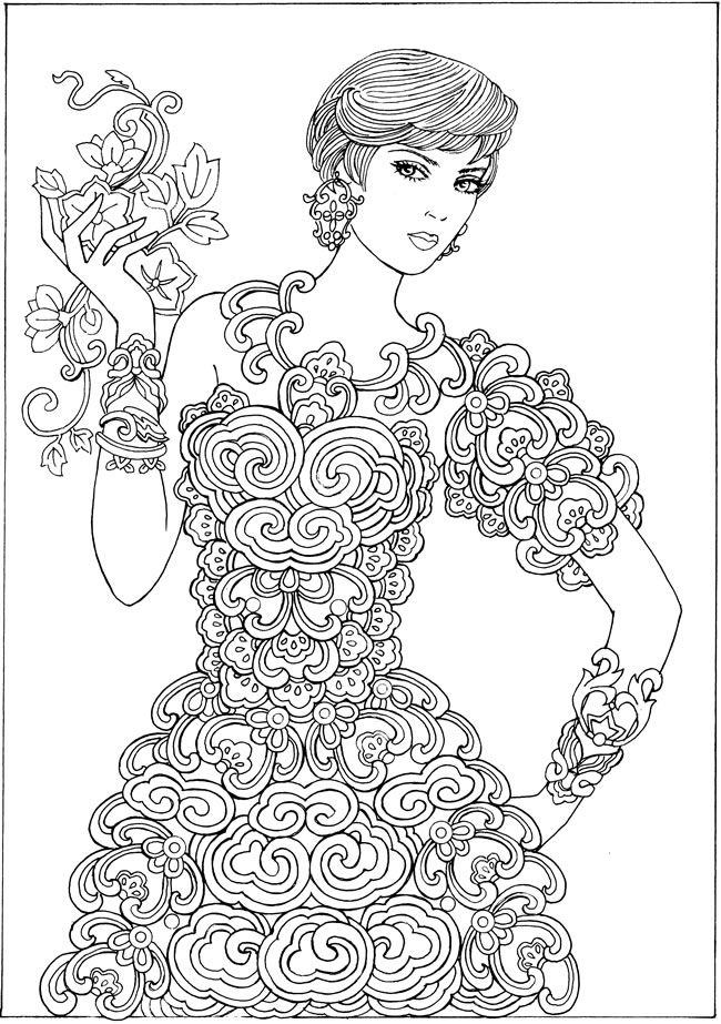 350 best ColouringFemale images on Pinterest Drawings Coloring