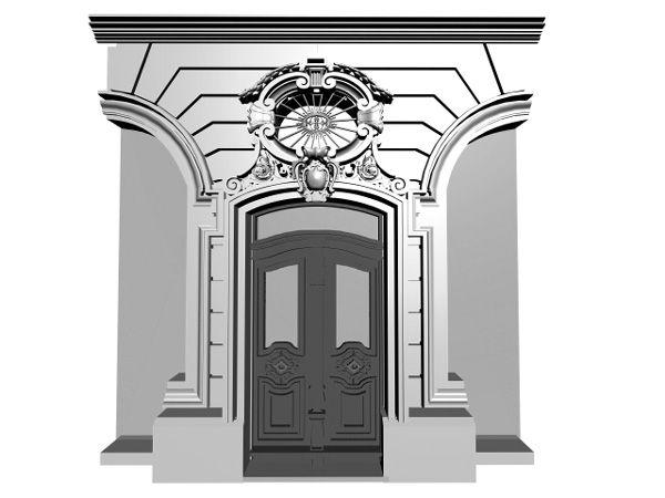 european doors   European classic entrance door, (.3ds) 3D Studio Max software ...