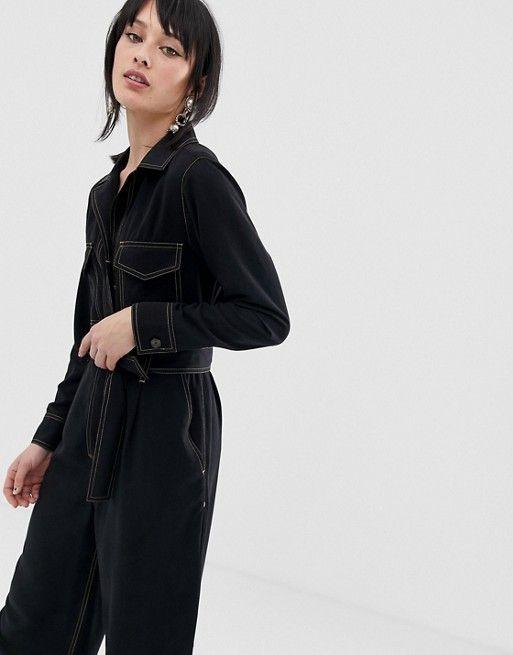 6cf5d211e01 Mango contrast stitch jumpsuit in Black in 2019