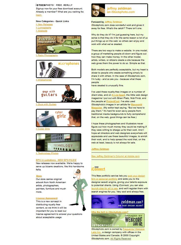 iStockPhoto website in 2000