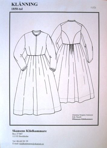 If patterns and materials to old clothes.  Skansen.se  Dress (notice how back view is similar to the vest construction)