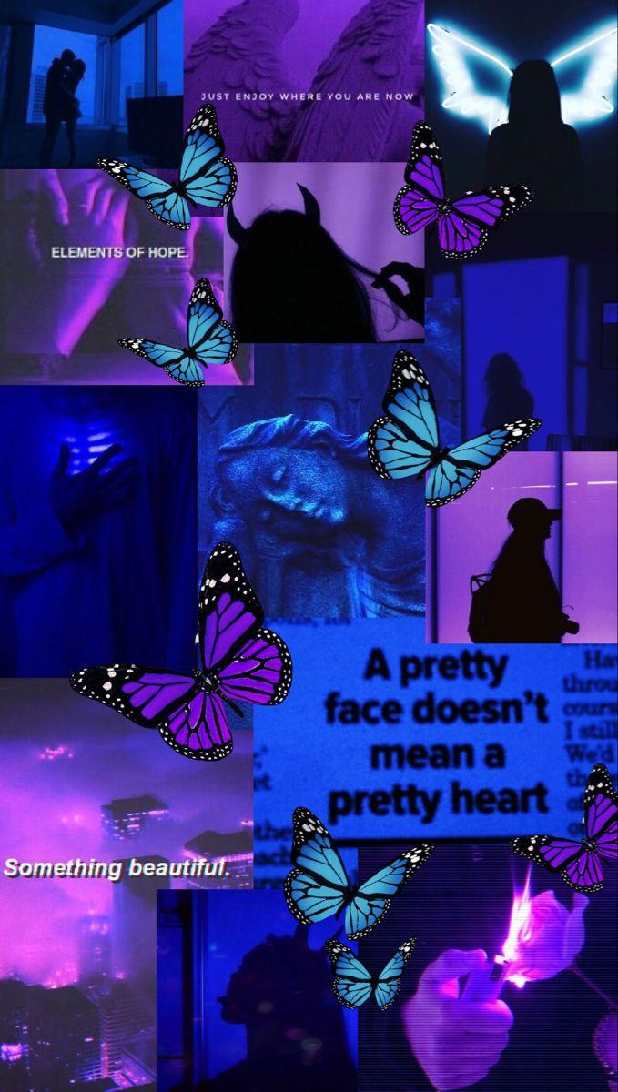 Dark Blue And Purple Aesthetic Purple Butterfly Wallpaper Blue Butterfly Wallpaper Dark Blue Wallpaper