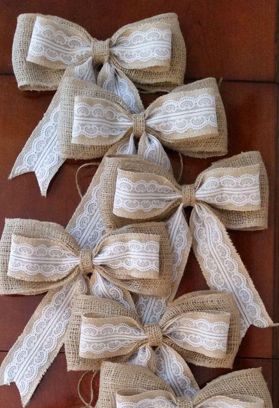 Set Of 6 Burlap Bows Rustic Wedding Pew Bows Wedding Bows Aisle Decoration Aisle Bows Burlap Decora Burlap Bows Wedding Bows Christmas Tree Bows