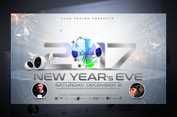 New Years Eve Flyer Template by Stormclub on @creativemarket