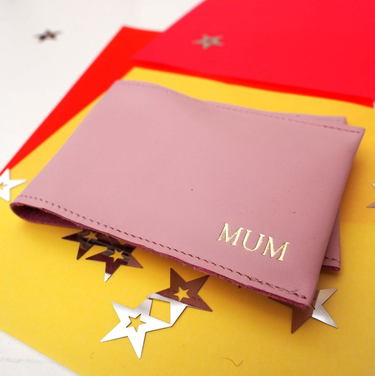 Personalised Initials Pink Leather Card Holder, leather cardholder, card wallet, card case, mothers day gift, mum gift, gift for her, by stabo on Etsy