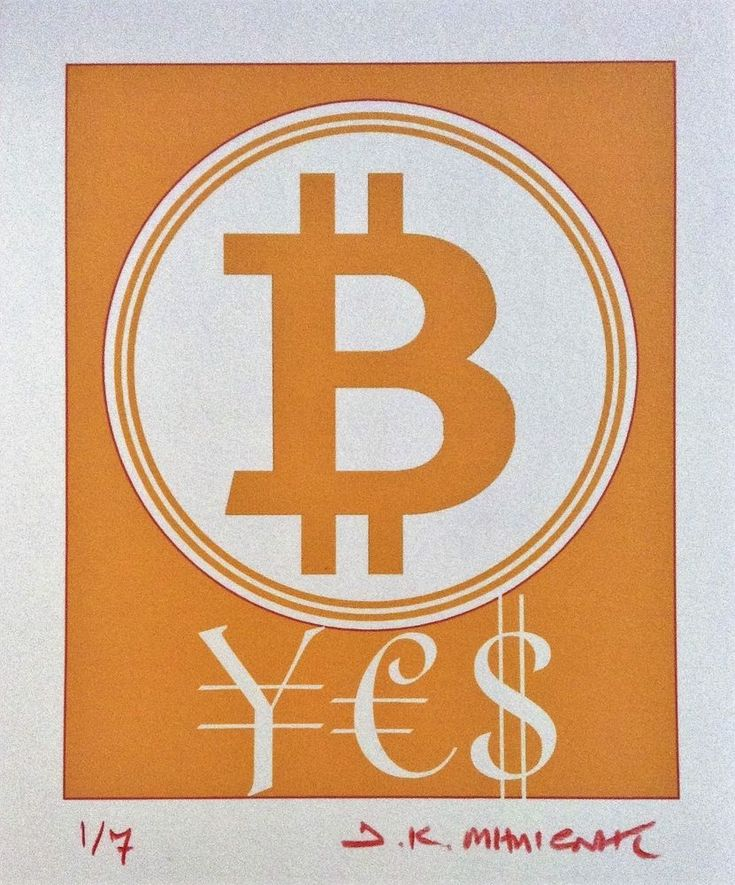 """""""BIT COIN ¥€$""""  Signed 1/7 Limited Edition Giclee Pigment Print 2017 Cryptoart d #PopArt"""