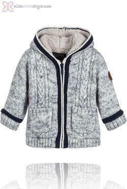 Baby Boy Speckled Cream Hooded Knit Jacket