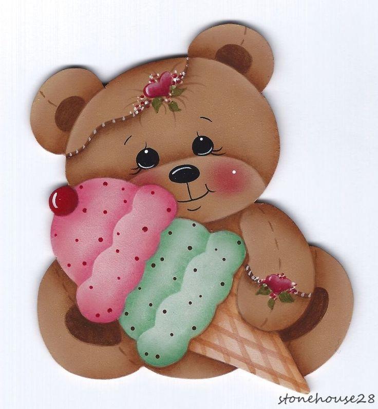 HP TEDDY BEAR with Ice Cream FRIDGE MAGNET #Handpainted