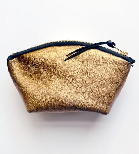 Gold Leather Cosmetic Pouch | New York | Two Tickets | Scoutmob Shoppe | Product Detail
