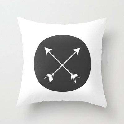 Black Print Arrows Cotton/ Polyester Decorative Cushion Cover. 450mm x 450mm