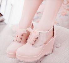 Japanese Harajuku Sweet Lolita Wedge High Heel PU Leather Shoes Princess Girl Spring Autumn Shoes(China (Mainland))