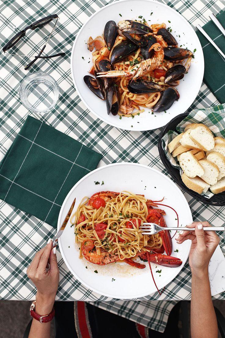 Bargiuliani Restaurant, Italian Food. Flatlay Food Photography. Lobster Speghetti & Seafood Linguine. Lake Como, Italy.