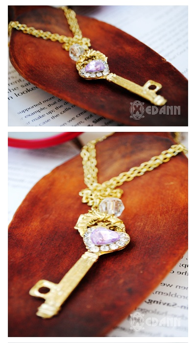 Golden Key Crystal Necklace - Php 150