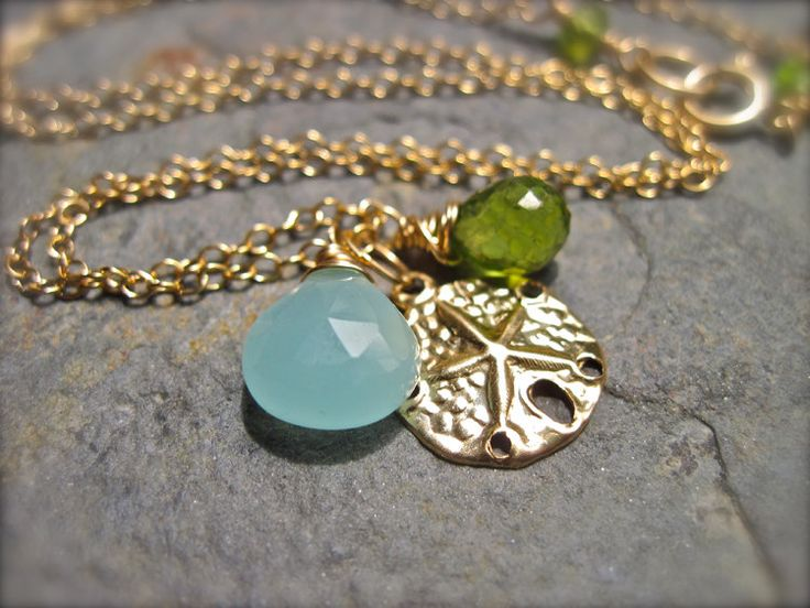 Peridot, Aqua Chalcedony, and Gold Sand Dollar Necklace, 14K Gold Filled, August Birthstone Necklace