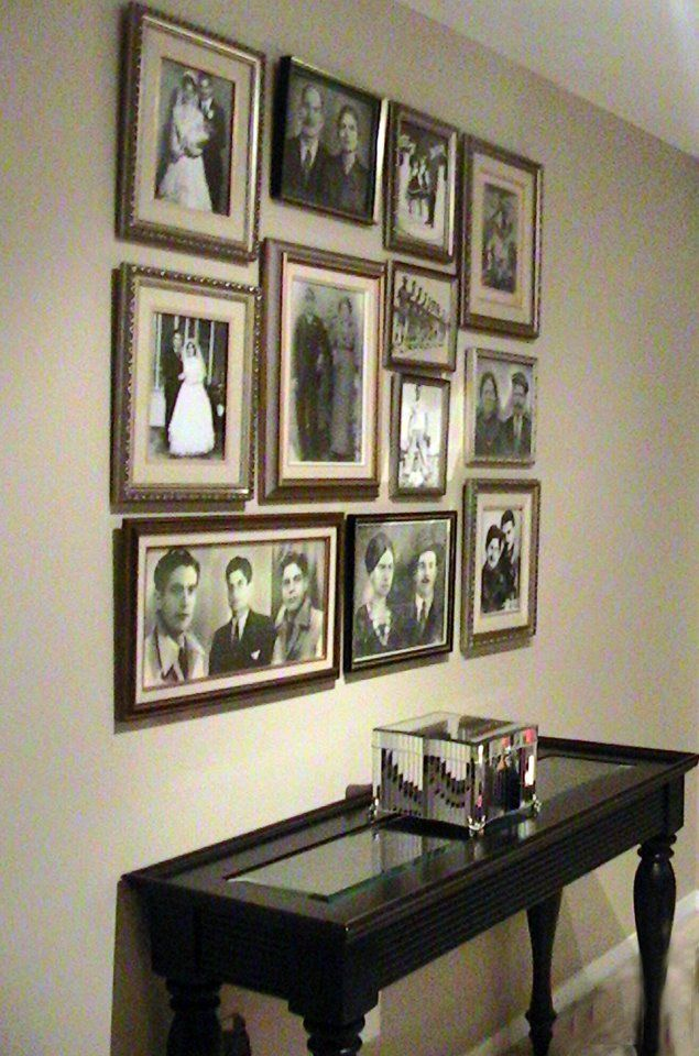 Ideas for displaying family photos on wall
