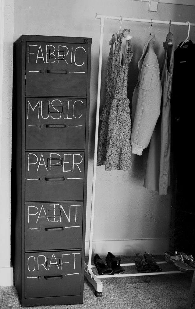 chalkboard paint filing cabinet refresh from Mox & Fodder