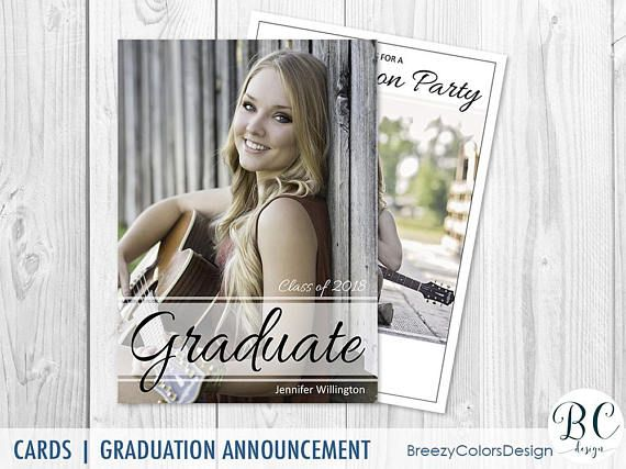 Summer Graduation Invitation, Student College Announcements Template, May Grad Photo Card, Class of 2018, Photography Marketing Board Custom