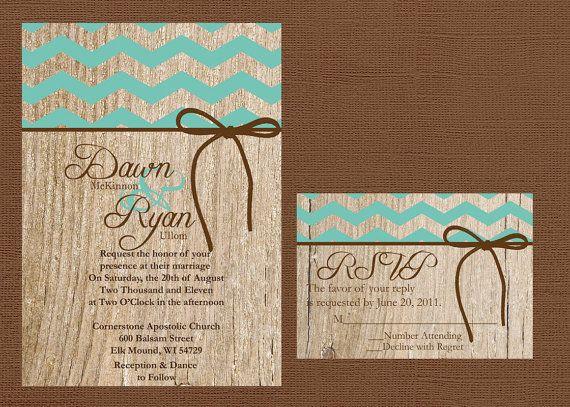 Chevron Wedding Invitation Rustic Wedding by DawnMarieCreations82