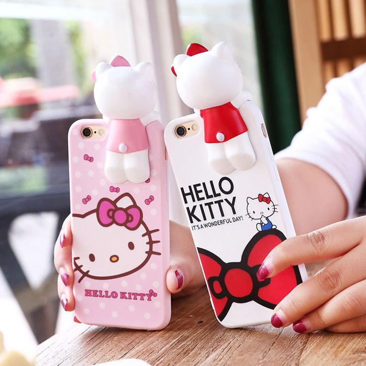 2016 New 3D Hello Kitty Knot bow Phone Case For Apple iPhone 6 6s 4.7 6plus 6splus 5.5 cute High quality i6 back cover pink red