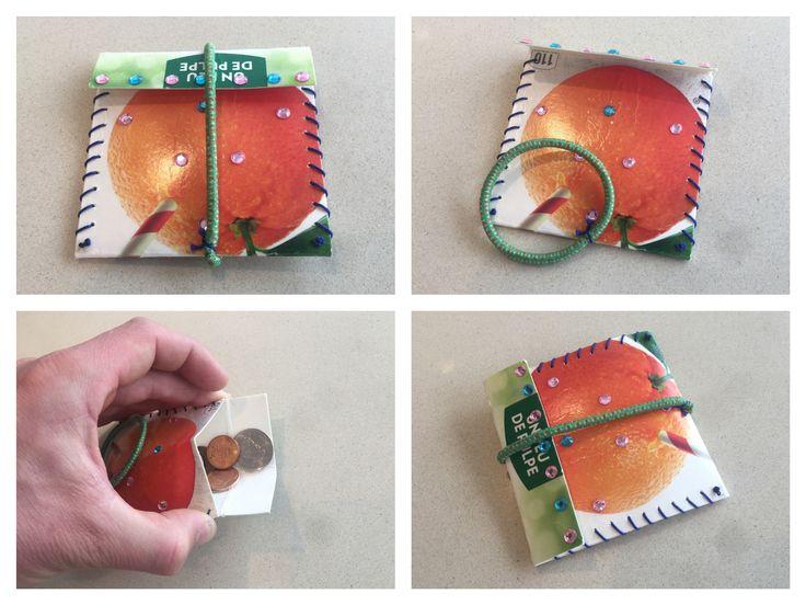 Portefeuille nummer 2, ook gemaakt van een brik fruitsap