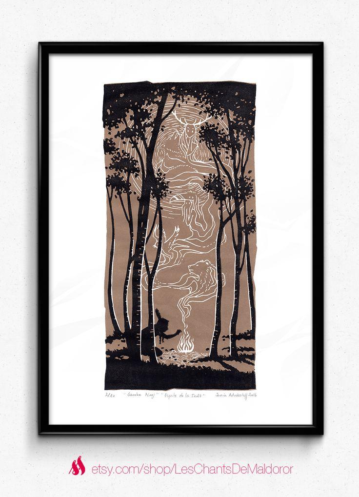 Limited serie of handmade linocut by Sonia Advokatoff, french illustrator and graphic designer. / Title : Cusoke Nagi (Forest Spirit) / Artist : Sonia Advokatoff alias Sae