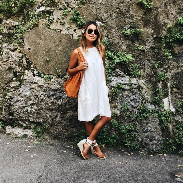 Sincerely Jules / white slip dress and espadrille wedges