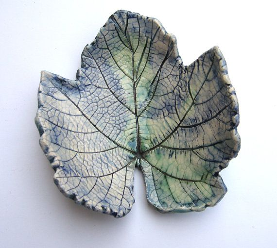 This is very pretty. Ceramic grape leaf ring plate for sale on Etsy.com by yaelastudio.