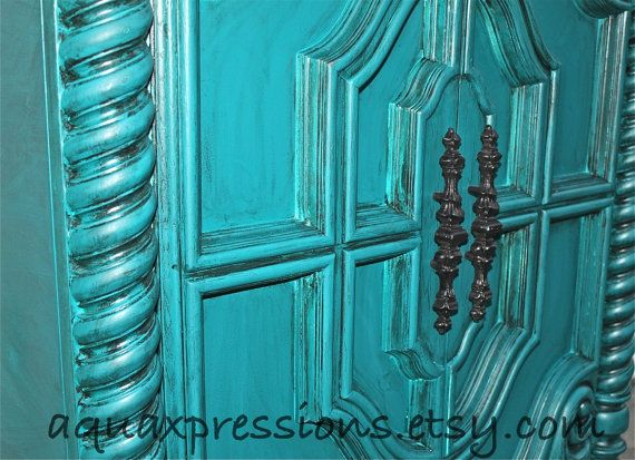 Vintage Armoire /Gypsy Teal / Bedroom Furniture/ by AquaXpressions
