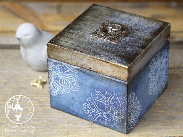 vintage box, gilding, stamps