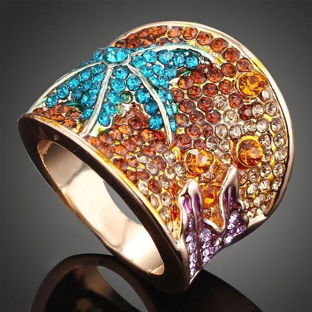 2017 Różowe Złoto kolor Wielokolorowy Rozgwiazda pierścień moda biżuteria Crystal party pierścień dla kobiet prezenty Bijoux