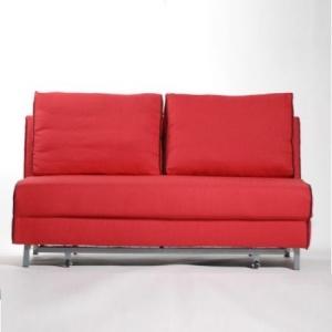 Jugendsofa CITTI, Schlaffunktion, B150cm, Strukturstoff rot/Keder schwarz