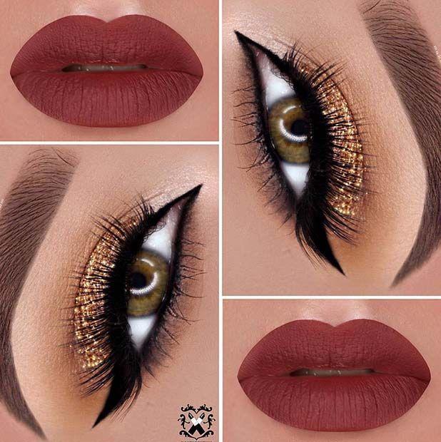 Dark Red Matte Lips + Gold Glitter Eyes Makeup Idea