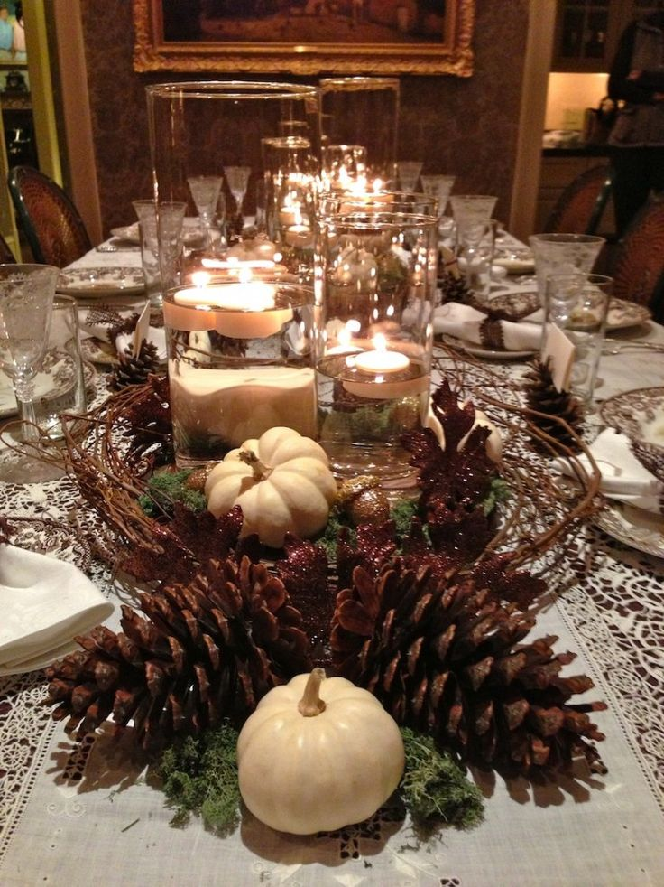 beautiful Thanksgiving table-scape; love how the mix of traditional and modern elements creates such an elegant, yet rustic look