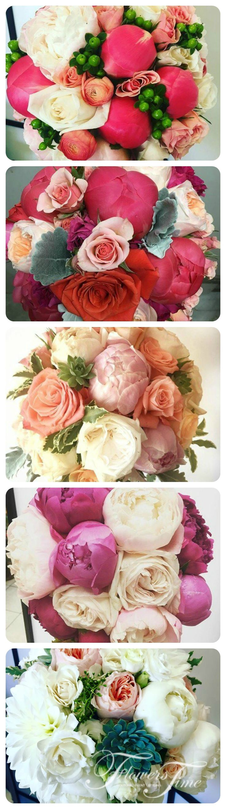 Pink colored Bridal bouquets by Flowers Time #wedding#roses#pink#collage#photocollage#roses#peony#softpink#bride