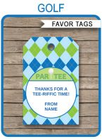 Golf Party Favor Tags template – blue/green
