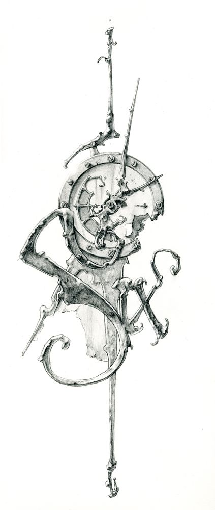 Eric Freitas conceptual sketch for his clock art. ... His clocks are incredible, abstract, Steampunk-inspired, fluid works or art :)