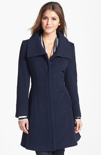 An impeccable fit-and-flare coat offers flattering shape with modern edge. A generous infusion of cashmere keeps the Italian wool blend exceptionally soft and cozy. Helene Berman Wing Collar Wool Blend Coat available at #Nordstrom