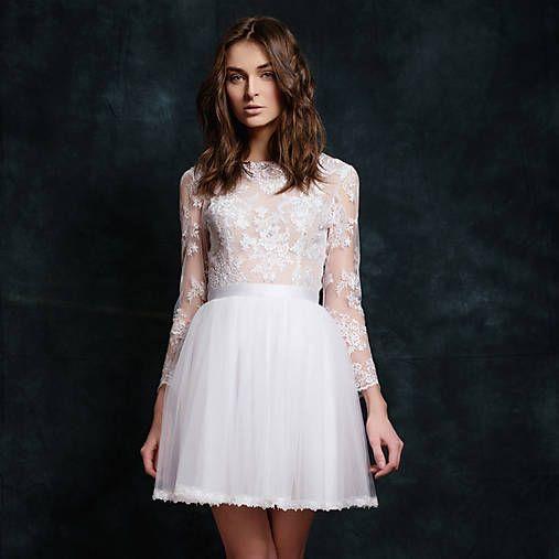 Dyona / Krátke tylové svadobné šaty s dlhým rukávom